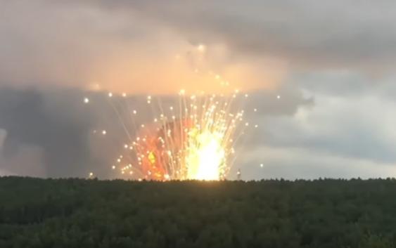 Пожар на складе боеприпасов в Красноярском крае